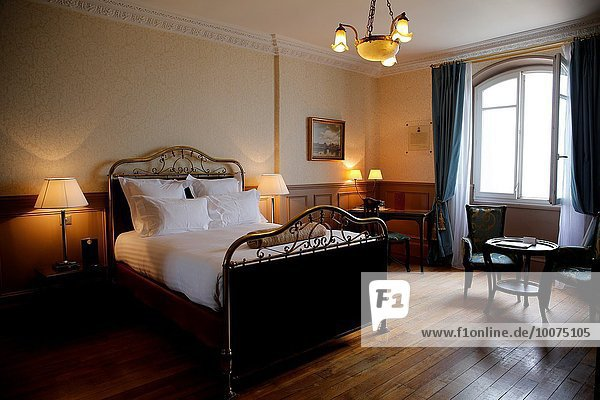 France  Normandy  Basse Normandie  Sea resort city of Cabourg  in the footsteps of writer Marcel Proust in Grand Hotel 1907-1914  Room 414 on the 4th floor was Proust favorite and is the only one to have kept the original setting and furniture including the bed