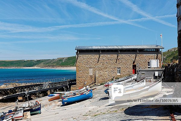 Boats and harbour of Sennen Cove  Cornwall  UK.