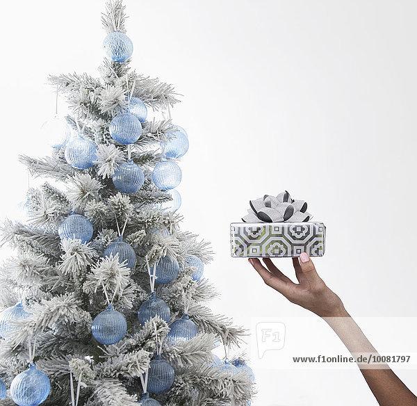 Geschenk nahe Europäer Frau halten Verpackung Weihnachtsbaum Tannenbaum umwickelt