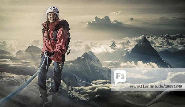 Europäer Berg wandern Alpen Monte Rosa klettern