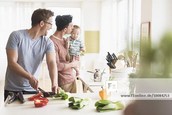 kochen Europäer Menschlicher Vater Küche Baby