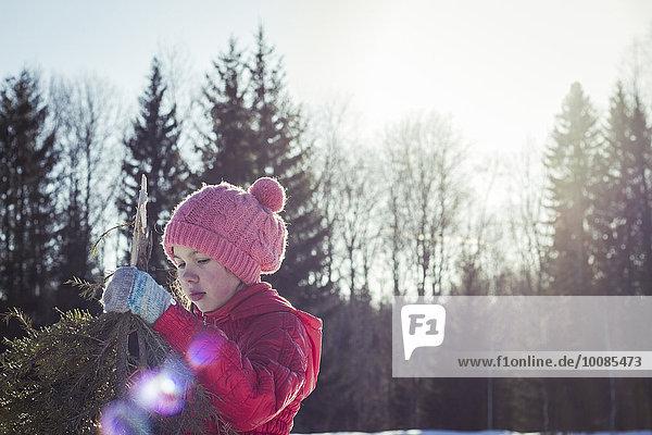 Europäer Baum halten Schnee Feld Ast Mädchen