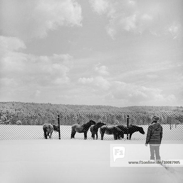 Caucasian girl walking in snowy field to horses