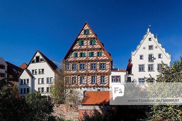 Stadtmauer Gebäude Fluss vorwärts Donau Deutschland Ulm