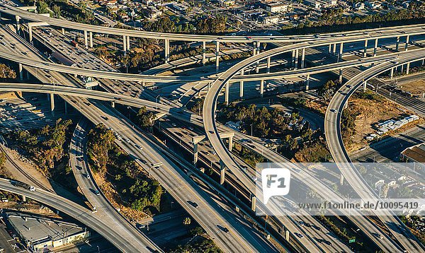 Aerial view of flyovers and highways  Los Angeles  California  USA