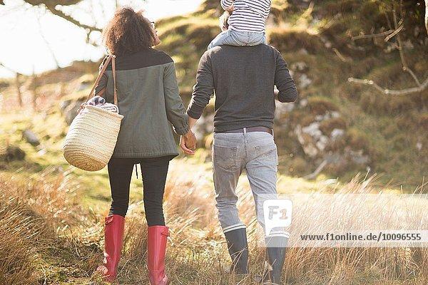 Mittleres erwachsenes Paar auf Spaziergang  das sich an den Händen hält