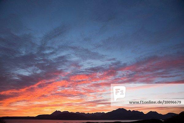 Cuillin Berge bei Sonnenuntergang  Isle of Skye  Hebriden  Schottland