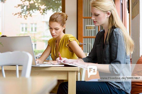 Zwei junge Frauen schreiben Notizen und benutzen Laptop im Cafe