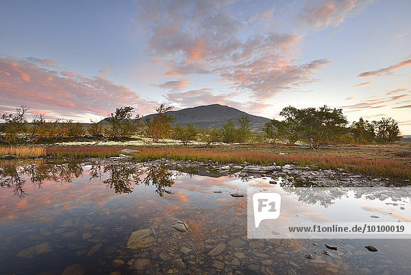 Red sky reflected in a small lake in the morning  fall scenery in the fell  Rondane National Park  Norway  Europe