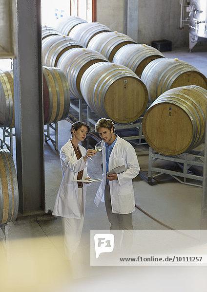 Winzer in Labormänteln untersuchen Wein im Weinkeller