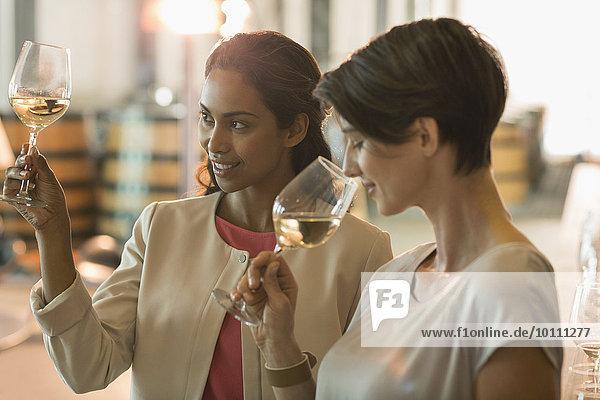 Frauen Weinprobe auf dem Weingut