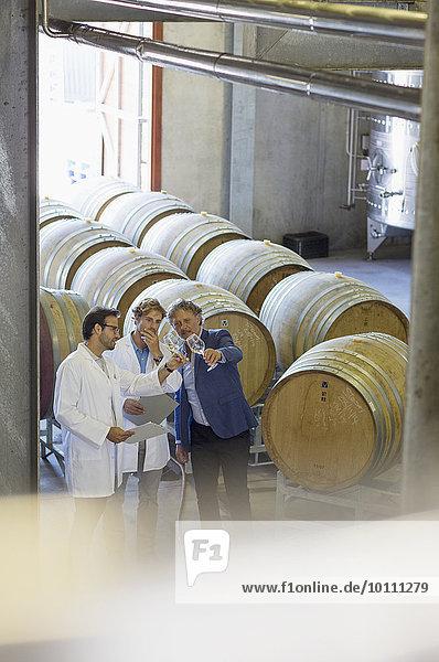 Winzer  die den Wein im Weinkeller begutachten