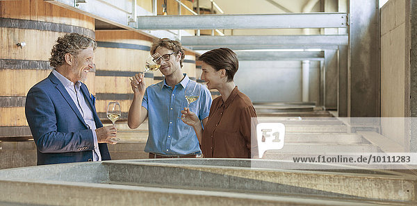Freunde der Fassverkostung im Weinkeller
