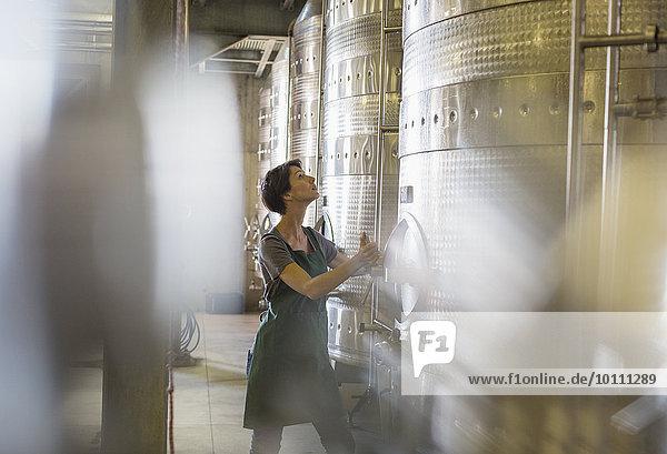 Winzer prüft Edelstahlbehälter im Weinkeller