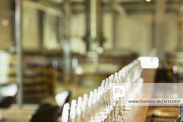 Weingläser in Reihe auf der Theke im Verkostungsraum des Weinguts