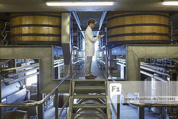 Winzer in Laborkittel auf Plattform im Weinkeller