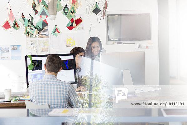 Computer Mensch Kreativität Büro Menschen arbeiten Business