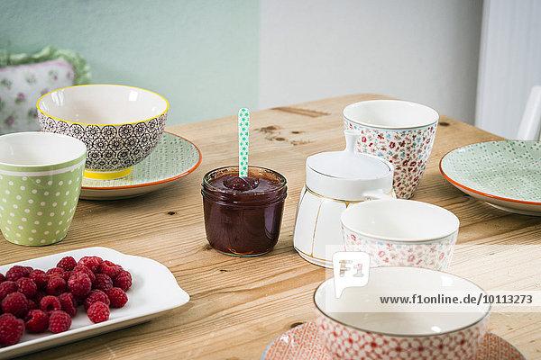 Himbeere Tisch Frühstück Marmelade