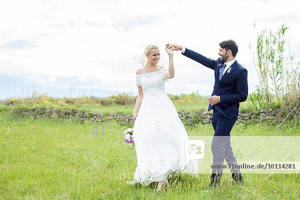 Braut Bräutigam halten Wiese