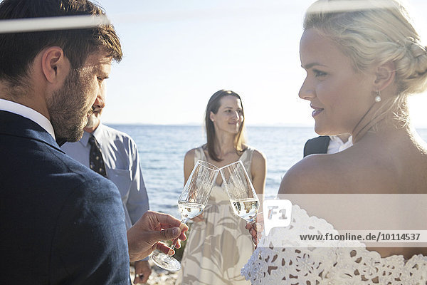 Braut Bräutigam Hochzeit grüßen zuprosten anstoßen Champagner