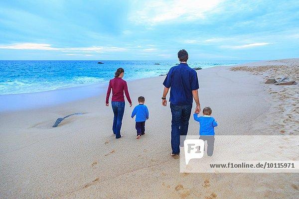 Junge Familie beim Spaziergang am Strand  Rückansicht