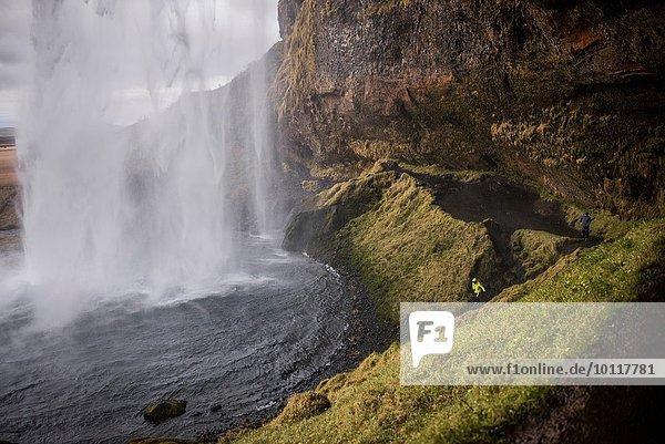 Männlicher Tourist am Seljalandsfoss Wasserfall  Island