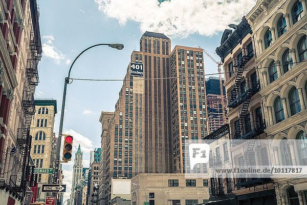 View of buildings and Broadway street sign  Manhattan  New York  USA