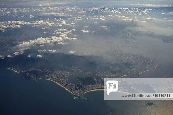 Aerial view with beaches and city center  Rio de Janeiro  Brazil  South America
