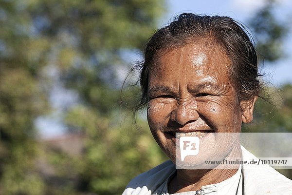 Old local woman laughing  portrait  Indein  Inle Lake  Shan State  Myanmar  Asia