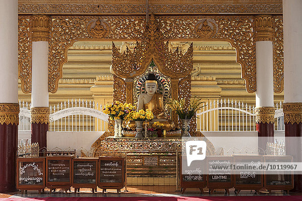 Buddha Figur bei der Maha Lawka Marazein Pagode  Mandalay  Division Mandalay  Myanmar  Asien