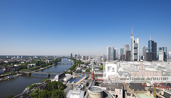 View from the Cathedral Tower across the Main river  historic centre  Paulskirche or St. Paul's Church  and Financial District  Frankfurt am Main  Hesse  Germany  Europe