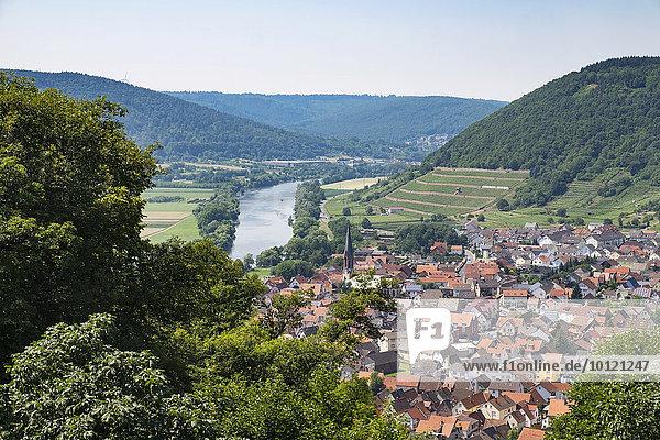 Ausblick vom Engelberg über Großheubach und Main  Spessart  Unterfranken  Franken  Bayern  Deutschland  Europa