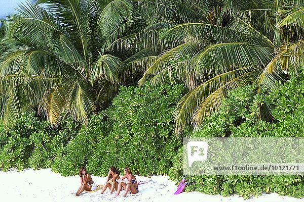 Drei Frauen am Strand  Palmen  Insel Baros  Malediven  Asien