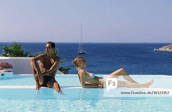 Pool des Grecotel in Psarou  Mykonos  Kykladen  Griechenland  Europa