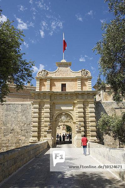 Historisches Stadttor von Mdina  Malta  Europa