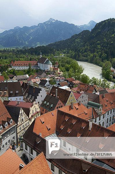 Fuessen with Lech River  Allgaeu  Bavaria  Germany  Europe
