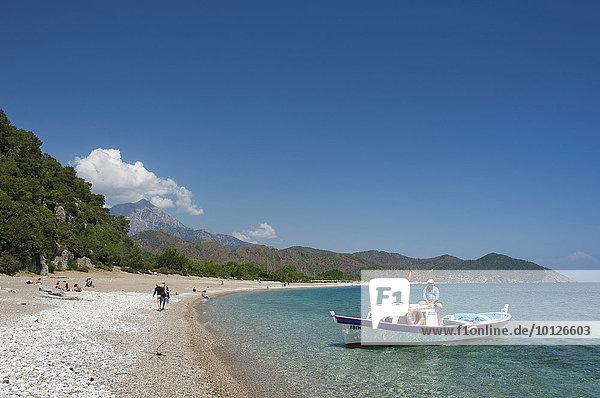Strand von Olympos  bei Kemer  Lykien  türkische Riviera  Türkei  Vorderasien  Asien