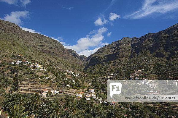 Terrassenanbau und kleine Siedlung  Valle Gran Rey  La Gomera  Kanaren  Spanien  Europa