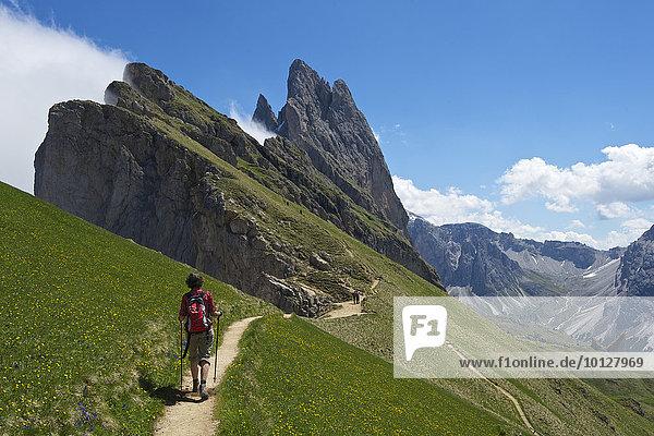 Geislerspitzen  Pana Scharte  Dolomiten  Seceda  Grödnertal  Provinz Südtirol  Trentino-Südtirol  Italien  Europa