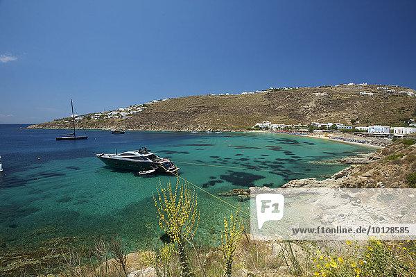 Boot vor Platis Gialos  Mykonos  Kykladen  Griechenland  Europa