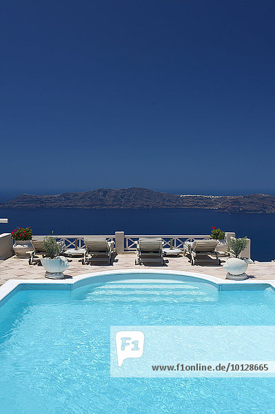 Pool  Hotel  Imerovigli  Santorin  Kykladen  Griechenland  Europa
