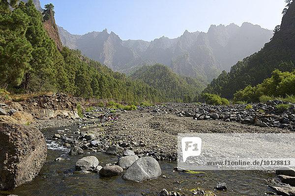 Playa de Taburiente und Felsformation Roque del Huso im Parque Nacional de la Caldera de Taburiente  La Palma  Kanarische Inseln  Spanien  Europa