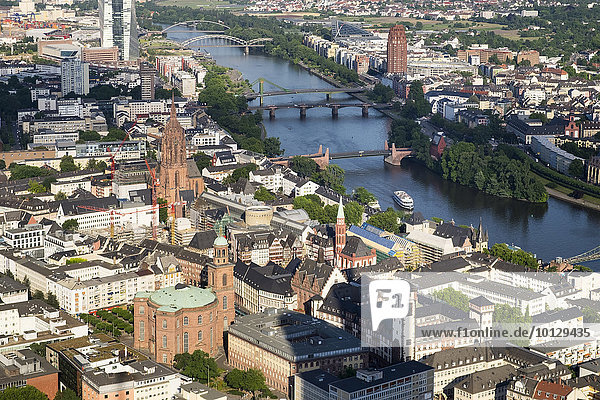 Paulskirche or St. Paul's Church  cathedral and Römer building on Römerberg square  historic centre and river Main  view from the Main Tower  Frankfurt am Main  Hesse  Germany  Europe