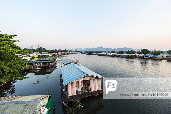 Floating houses  River Kwai  Kanchanaburi Province  Central Thailand  Thailand  Asia