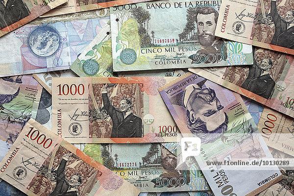 Pesos  Geldscheine  Kolumbien  Südamerika