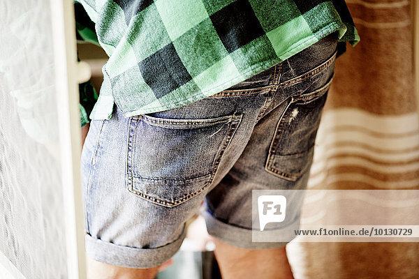 Mittlerer Ausschnitt Mann Jeansstoff Shorts
