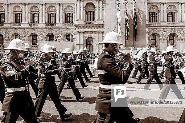 The Band Of Her Majesties Royal Marines March Past The Cenotaph In Whitehall As Part Of The 70th Anniversary Celebrations of VE Day  London  England.