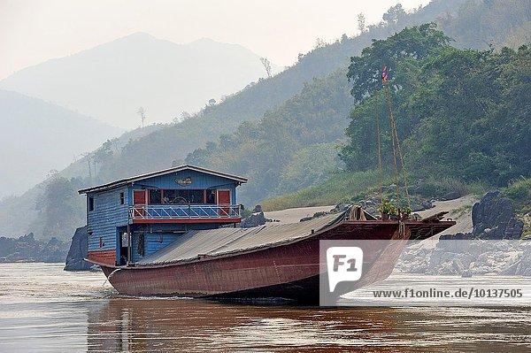 Fluss Südostasien Hausboot Laos