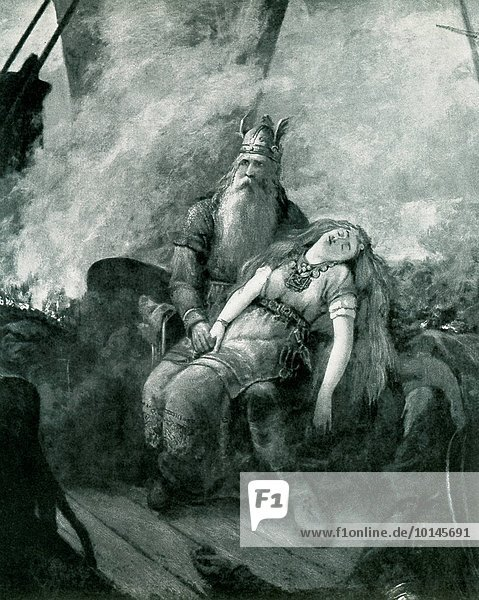 The title of this piece is Road to Valhalla and was done by the Swedish painter and photographer Severin Nilsson (died 1918). The illustration dates to 1908 and shows the god Odin aboard a burning Viking ship. With him. According to Norse mythology  the Valkyries were the daughters or attendants of Odin  the chief god (also called Wotan). The Norse believed the Valkyries came to battlefield  chose those who would die  and carried them back to Valhalla.