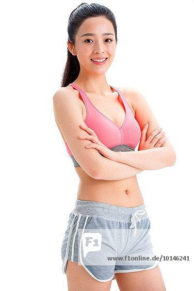 Portrait Frau Kleidung lächeln Sport